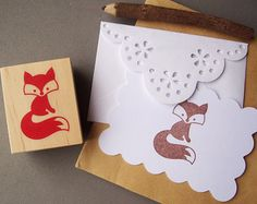 Woodland Fox Rubber Stamp - Forest Woodland Animal Autumn Fall Stamp