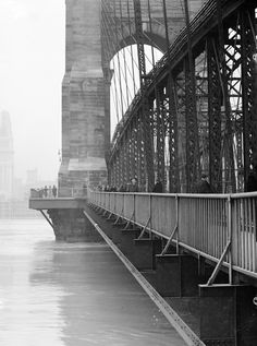 Cincinnati, Ohio, 1937 flood, photo by Betty T. Ross:  Roebling Suspension Bridge.
