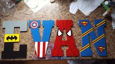 10.5 in hand painted super hero wooden by LittleLetterCreation