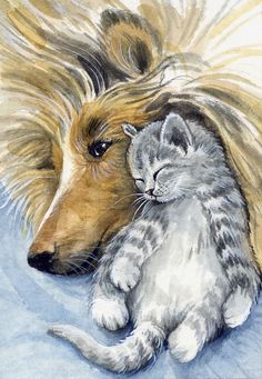 ACEO Original Watercolor Miniature Painting Cat & Dog by Elena Mezhibovsky Watercolour Painting, Cat Art, Monitor, Arts And Crafts, Miniatures, Cold, The Originals, Paper, Image