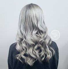 Iced silver color by Julie Mueller at Stay Gold Salon. #silverhair #grayhair #icyhair #grannyhair #metallichair #kenrametallics #olaplex #staygoldsalon