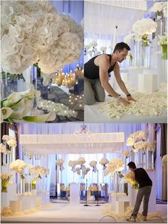 Gorgeous all white wedding Tall Wedding Centerpieces, Wedding Flower Arrangements, Floral Arrangements, Wedding Decorations, Decor Wedding, All White Wedding, Rustic Wedding, Dream Wedding, White Weddings