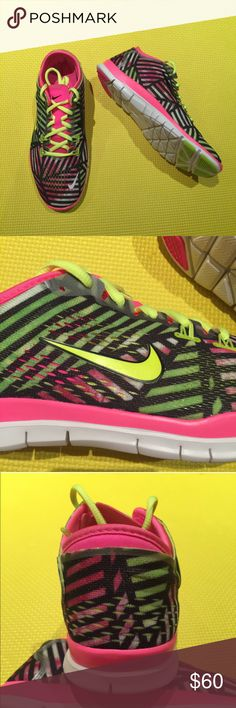 ‼️PRICE DROP‼️ New Nike Free 5.0 TR Fit Print brand new no lid • size 7 or 9 • pink powder/volt black • comes from smoke free home Nike Shoes Athletic Shoes