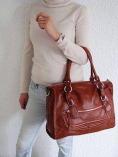 CLEO MEDIUM BROWN---Leather bag clip on laptop (15in MacBook Air/ Pro) messenger satchel purse shoulder cross body bag. $175.00, via Etsy.