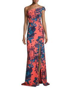 TCLXC Black Halo One-Shoulder Floral Ikat Ponte Gown