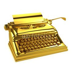 All-Star Writer (Production and Distribution of Writing)   Emphasize the shininess of the gold typewriter.