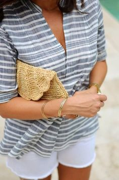 White Short Top Grey & White Thin Large Stripes Popover Tunic And Embroidered Yellow Clutch