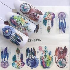 Mtssii 3 Sheets Water Nail Stickers Colorful Cartoon Animal Flower Cat Designs Sliders For Nail Decals DIY Nail Art Manicure Glitter Nail Art, Nail Art Diy, Diy Nails, Manicure, Nail Art Stickers, Nail Decals, Owl Eye Tattoo, Skull Nails, Water Nails