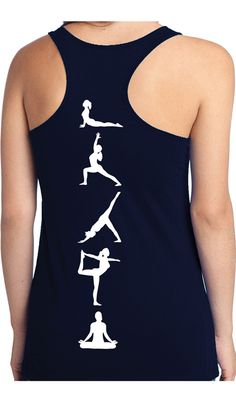 YOGA POSES Sheer Mini Rib Racerback Pictured - Navy Blue with White Print or - Black with Teal Print Look good while you train! Workout Tanks, Workout Wear, Yoga Fitness, Fitness Tanks, My Yoga, Yoga Wear, Yoga Meditation, Black Tank Tops, Yoga Poses