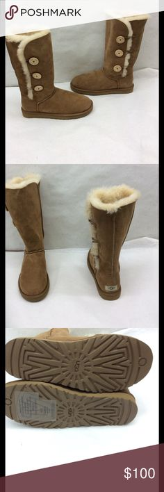 """UGG Australia Bailey Button Shearling Suede Boots New Ugg Australia 1873 Authentic boots. Classic chestnut suede with three bailey buttons. Full shearling lined. These boots are new but they had a tear that needed professionally repaired. Circumference 17"""" shaft height 12.5 """".  Psku 54 UGG Shoes Winter & Rain Boots"""