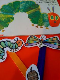 Free Caterpillar to Butterfly Sticks for retelling the story The Very Hungry Caterpillar by Eric Carle. Preschool Books, Preschool Science, Preschool Printables, Preschool Lessons, Preschool Crafts, Free Printables, Free Preschool, Spring Activities, Literacy Activities
