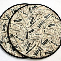 Quilted Round Placemats, French Newspaper, Set of 2 or 4 Table Mats Mini Quilts, Baby Quilts, Parisian Party, Tablerunners, Place Mats, Quilt Bedding, Mug Rugs, Christmas Items, Decorating Your Home