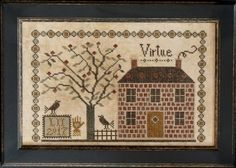 Virtue is the title of this cross stitch pattern from La D Da that includes the alphabet and numbers to personalize the box shown in the photo to make it your own. The cross stitch pattern is stitched with Gentle Art Sampler Fiber (Brick Path), Weeks Dye Works (Terrapin and Kudzu) and DMC (829, 3021, 3032 and 3782).