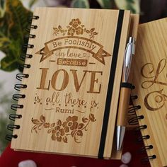 Be foolishly in love because love is all there is - Rumi Love Quotes - Rumi love Poem - Love Journal -Wooden Notebook - Personalized Notebook 1 - Woodgeek Store Rumi Love Quotes, Notebook Cover Design, Love Journal, Laser Art, Personalized Notebook, Gifts For Your Boyfriend, 3d Prints, Scrapbook Albums, Love Is All