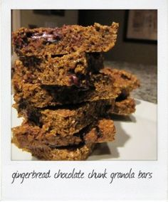 gingerbread chocolate chunk granola bars ~ these will be in the oven by tonight.