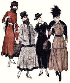The fashionable small hat (1915) Love the second suit from the left.
