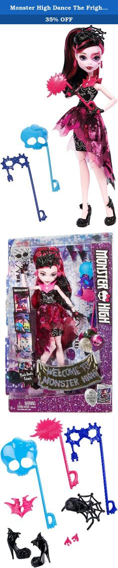 """Monster High Dance The Fright Away Transforming Draculaura Doll. In the new Monster High story """"Dance the Fright Away,"""" the students of Monster High unite to revel in the opening of the iconic high school, and the ghouls are wearing their beast for the celebration! Draculaura doll is flawesome in a party dress with metallic details, fancy shimmer and glam ghoul makeup. Three photo boo-th accessories mean lots of photo ops. Draculaura doll, daughter of Dracula, is to-die-for in her…"""