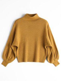 Linterna de manga Mock Neck Sweater - Amarillo Única Talla Moda Para Damas d094b3c5297c