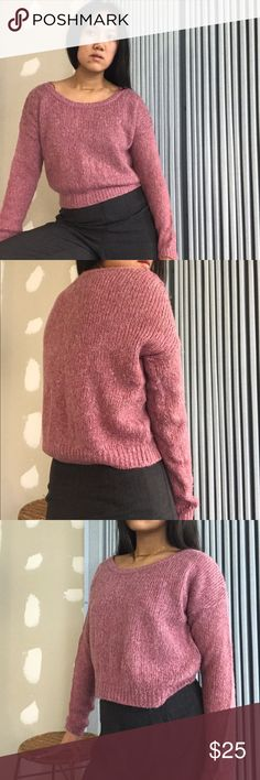 H&M Pink Heather Size 4 Crop Sweater H&M Pink Heather Size 4 Crop Sweater•••This piece is a fave. It's so versatile in what it can be worn with:jeans,mini skirt, leggings, throw over a dress to make it look like a skirt. Very soft and a pretty deep rose pink. Easy to throw a warmer jacket on top. Sleeves are nice to pull over your hand when it gets cold. H&M Sweaters Crew & Scoop Necks