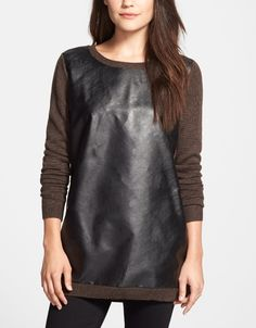 Love this Halogen mixed media long sleeve tunic sweater.