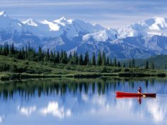 Canoeing in Denali National Park, Alaska. Denali National Park and Preserve is located in Interior Alaska, centered on Denali, the highest mountain in North America. The park encompasses more than 6 million acres, of which acres are federally owned. Oh The Places You'll Go, Places To Travel, Places To Visit, Travel Destinations, Travel Trip, Travel Hacks, Parc National, National Parks, Dream Vacations
