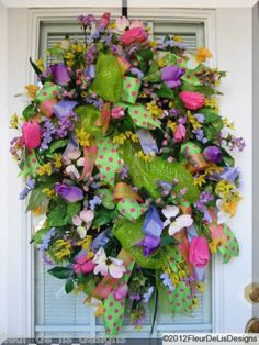 fleur_de_lis_designs  Easter-Spring Wreath on Ebay Wreaths For Front Door, Door Wreaths, Floral Decorations, Outdoor Material, Wreath Making, Summer Wreath, How To Make Wreaths, Easter Ideas, Pretty Flowers