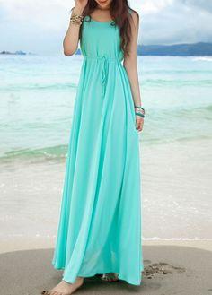 Fashion New Round Neck Empire Waist Maxi Chiffon Beach Dress - Light Blue Blue Chiffon Dresses, Chiffon Maxi Dress, Maxi Dress With Sleeves, Blue Maxi, Mint Maxi, Tie Dress, Cute Dresses, Beautiful Dresses, Maxi Dresses