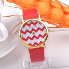 Popular Geneva Stripes Watch PU Leather Analog Quartz Wrist Watches