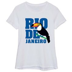 Festuvius White 'Rio De Janeiro' Toucan Fitted Tee ($13) ❤ liked on Polyvore featuring tops, t-shirts and plus size