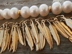 Fresh Water Pearls & Gold Fill Leaves Women's by BellaMarvel