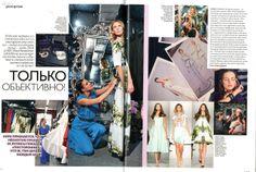 Kira Plastinina preparing for the LUBLU Kira Plastinina SS14 fashion show. Harpers Bazaar, November 2013. Russia.