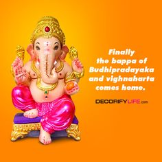 Bappa has come where he always belonged. Welcoming home LORD GANESHA. Happy Ganesh Chaturthi to everyone. Ganpati Invitation Card, Home Decor Items Online, Happy Ganesh Chaturthi, Ganpati Bappa, Positive Messages, Luxury Home Decor, Gift Store, Vases Decor, Decorating Blogs