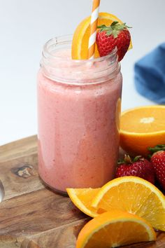 Make this delicious orange smoothie recipe with three simple ingredients. Perfect for a breakfast smoothie or a healthy snack idea!