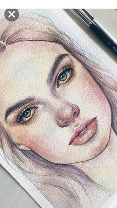 Looks like Ash - Art Drawings Watercolor Art Face, Watercolor Portraits, Watercolor Paintings, Watercolor Portrait Tutorial, Watercolor Landscape, Abstract Paintings, Oil Paintings, Painting Art, Watercolor Flowers