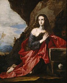 """María Magdalena en el desierto - Magdalena rezando. José de Ribera, 1641  -  """"La discípula de Jesús, ataviada con ricas vestiduras, en posición de rezo, inclinada ante un baúl y uno de sus atributos iconográficos, el vaso de perfumes"""""""