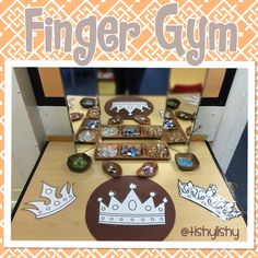 "is for Crown; ""Finger Gym"" Activity: Decorate Crowns with Gems, Jewels & Loose Parts (from TishyLishy)Cc is for Crown; ""Finger Gym"" Activity: Decorate Crowns with Gems, Jewels & Loose Parts (from TishyLishy) Eyfs Activities, Motor Skills Activities, Gross Motor Skills, Reggio Emilia, Castles Topic, Finger Gym, Early Years Classroom, Funky Fingers, Eyfs Classroom"