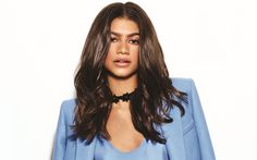 Download wallpapers Zendaya, American actress, portrait, beautiful woman, blue jacket, Zendaya Coleman