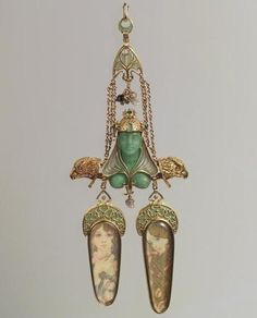Brooch, 1900  Alfons Mucha and Georges Fouquet,  gold, enamel, pearl, opal, emerald, colored stones