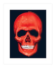 Red Skull Pixelete Art Print