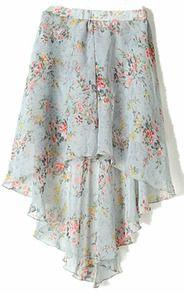 Grey Small Floral Print Dipped Hem Elastic Waist Skirt