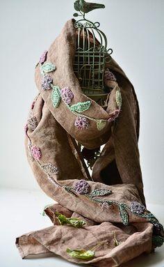 Linen scarf by Natalia Kononova  http://outstandingcrochet.blogspot.com/2012/02/linen-scarf-with-crochet-embellishment.html