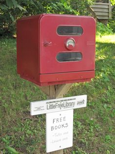 Marion Poellot. Red Wing, MN. My library is a converted camper oven. I discovered it in the back of an antique shop in town. It has a door that latches securely and there are two small oval windows in the door. There is also a small thermometer in the door. I think that adds to its charm. I painted it red because it's a library. It SHOULD be read. Because it is an oven it has a rack. The rack holds the grown-up books. The children's books are on the lower level.