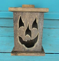 Wood lantern, made with rustic worn wood, Jack-O-Lantern for Halloween/ Fall Art decor for the patio or front porch by artist Bill Miller Halloween Wood Crafts, Fall Crafts, Fall Halloween, Halloween Decorations, Monster Decorations, Halloween Items, Jack O'lantern, Battery Operated Tea Lights, Adornos Halloween