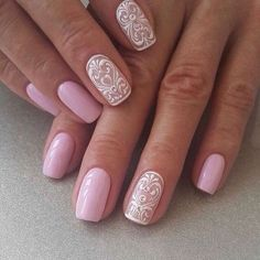 Accurate nails, Evening dress nails, Lace nails, Nails with curls, Original nails, Pale pink nails, Romantic nails, Spectacular nails