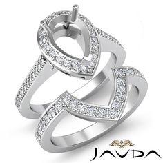 Diamond Engagement Halo Pave Ring Pear Bridal Sets Platinum 950 Setting 0 92ct | eBay