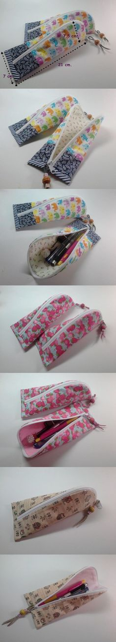 Pencil Case - Photos only Sewing Tutorials, Sewing Hacks, Sewing Patterns, Sewing Ideas, Fabric Crafts, Sewing Crafts, Sewing Projects, Quilting Projects, Diy Couture