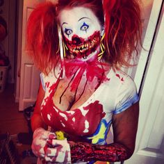 Killer Clown SFX makeup/costume Idea. / Pairs great with All-white special effects -zombie contact lenses => http://www.pinterest.com/pin/350717889705763104/ Made the mouth out of Silicone Gel 10 and fake finger nails =) The arm is also made out of the gel