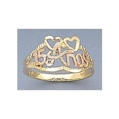 14k Gold Ladies Tri-color Sweet 15 Quinceanera Ring
