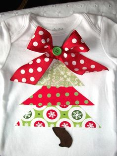 Long Sleeve Funky Christmas Tree Shirt--Appliqued- Red and Green- 12mo-6yrs. $18.00, via Etsy.