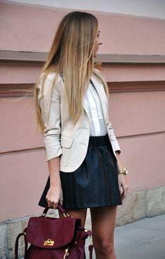 This makes me think of combining my pink tuxedo shirt with my black print skirt and my black short blazer